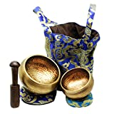 Tibetan Singing Bowls Set. 2 bowls: 4 inches & 3.15 inch, Mallet, Ring Cushions and Nepal Cloth Bag. Great for Meditation, Yoga, Relaxation, and Healing. Increase mindfulness. Deep Sound.