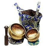 Tibetan Singing Bowls Set. 2 bowls: 4 inches & 3.15 inch, Mallet,...