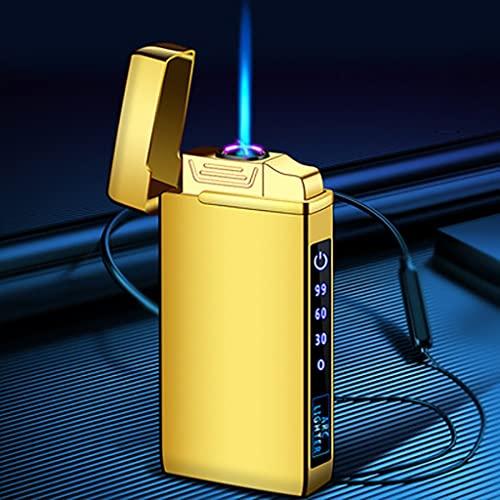 LCB USB Antorcha de Chorro de Metal a Prueba de Viento Double Plasma Arco eléctrico butano Gas Recargable Manguera cigarro Pantalla Sensible Sensible táctil (Color : Gold Ice)