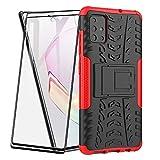 FANFO® Custodia per Samsung Galaxy A51, 2 in 1 Resistente Hybrid Dual Layer Armatura Defender PC + TPU Cover con Cavalletto Integrato, Rosso + Pack di 2 Protezioni Schermo
