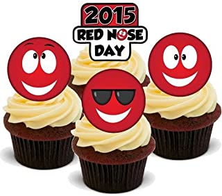 RED NOSE DAY MULTI MIX - 12 Edible Stand Up Premium Wafer Cake Toppers