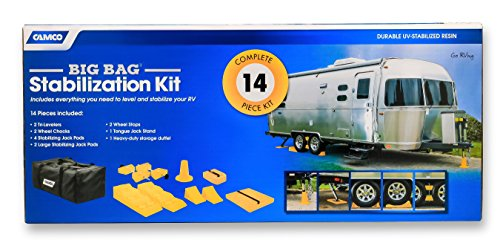 Camco Big Bag Stabilization Kit - Includes Everything You Need to Level and Stabilize Your RV, Camper or Trailer | 14 Piece Complete Kit with Heavy Duty Storage Duffel Bag - (44550)