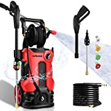 3800PSI Pressure Washer 2.8GPM Electric Power Washer 2000W High Pressure Cleaner Machine with 4 Nozzles Foam Cannon,Best for Cleaning Homes, Cars, Driveways, Patios, Fences, Garden (Red)