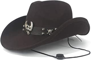 Lei Zhang Fashion Winter Cowboy Hat Women's Western Cowboy Hat For Gentleman Flying Skull Punk Leather Leather Women's Hat Men's Jazz Cap (Size: 56-59cm)