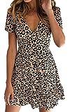 ECOWISH Womens Deep V Neck Floral Leopard Dress Short Sleeve Sexy Ruffles Fashion Mini Dress Khaki S