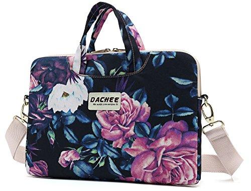 DACHEE Big Purple Rose Patten Waterproof Laptop Shoulder Messenger Bag Case Sleeve for 14 Inch 15 Inch Laptop Case Laptop Briefcase 15.6 Inch