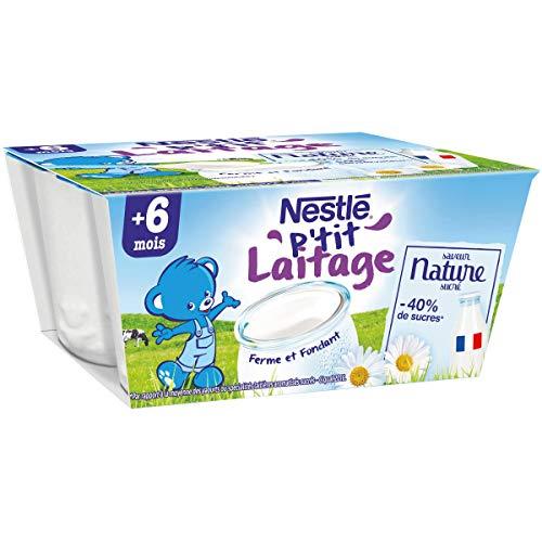 Nestlé Bébé P'tit Laitage Saveur Nature - Laitage dès 12 mois - 4x100g - Pack de 6 ( 24 Laitages )