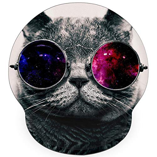 Britimes Ergonomic Mouse Pad with Wrist Support Hipster Cat Wear Color Galaxy Sunglasses Non-Slip Rubber Base Mousepad for Home Office Gaming Working Computers Laptop Easy Typing & Pain Relief
