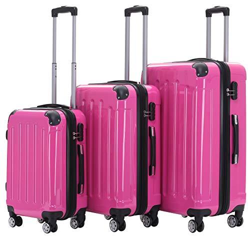 BEIBYE Zwillingsrollen 2048 Hartschale Trolley Koffer Reisekoffer Taschen Gepäck in M-L-XL-Set (Pink, Set)
