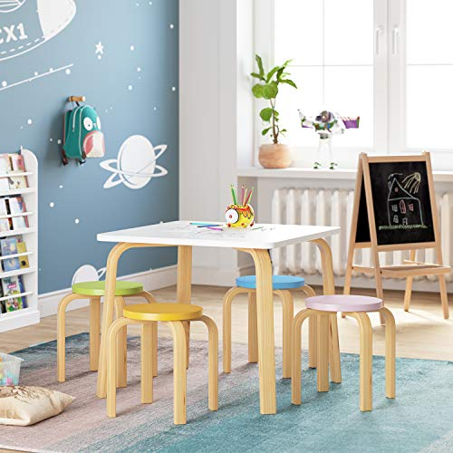 Homfa Kids Table and 4 Chairs Set, Activity White Table and Assorted Color Stools Sturdy Wooden Toddler Desk Set Children Playroom Furniture for Arts Crafts Dinning Snack Time Homeschooling