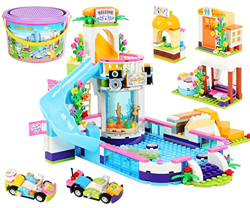 727 Pieces Summer Pool Party Building Blocks Toys Include Juice Bar and Cars Toy Building Play Set - Portable Storage Box with Base Plate Lid - Learning and Roleplay Gift for Kids Boys Girls Ages 6-12