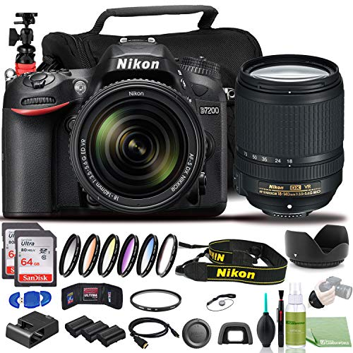 Nikon D7200 DSLR Camera - Bundle - with 18-140mm Lens (1555) USA Model + Color 6pcs Filter Set + 2X EN-EL15 Battery + 2X SanDisk 64GB Card + Case + Memory Card Wallet + 12 Inch Flexible Tripod + More