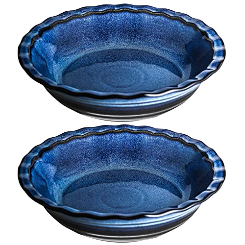 Uniidea 2 Pack Ceramic Pie Pan for Baking,11 Inches Pie Plate for Kitchen,52ounce Round Ceramic Baking Dish Pan,Gradient Series (Navy Blue)