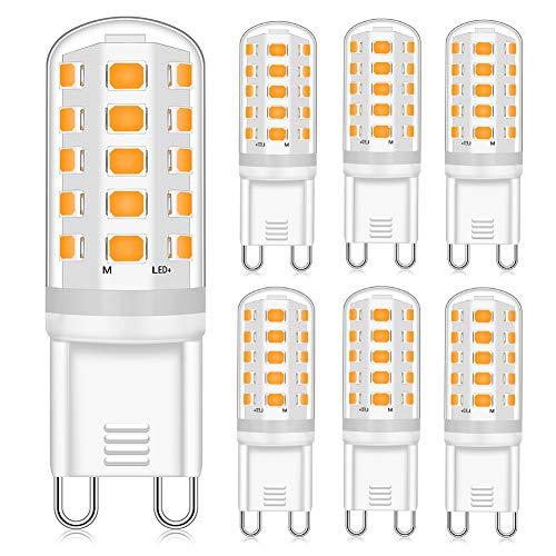 Eco.Luma G9 LED Dimmbar Leuchtmittele 4W Ersatz für 40W 33W G9 Halogenlampe, Warmweiß 2700K 400LM, G9 Sockel Glühlampe, Kein Flackern, AC220-240V, 6er Pack