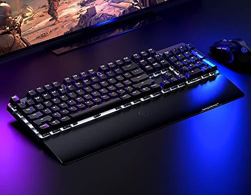 GameSirGK300ワイヤレスメカニカル青軸ゲーミングキーボードBluetooth/2.4GHz対応パームレスト付き【国内正規品/1年間メーカー保証/日本語説明書】(ブラック)
