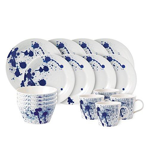Royal Doulton Pacific 40021450 Service de table 16 pièces en porcelaine Bleu Splash 36,23