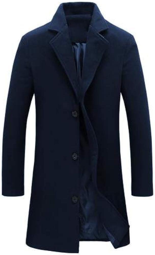N\P Abrigo de invierno para hombre largo y sencillo cuello alto liso