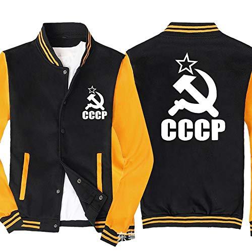 Männer Pullover Jacke - CCCP Printed Sweatshirt Baseball-Trikot Langarm-Zip Trainingsjacken - Teen Gift Black Yellow-M