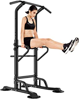 SogesHome Pull Up & Dip Station Dip Stand Power Tower Adjustable Height Multi-Functional Home Strength Training Fitness Workout Station, NSD-PSBB002