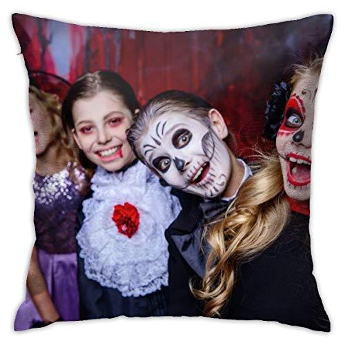 Lsjuee Funda de Almohada de Tiro Halloween Niños Felices Disfraces de Carnaval Celebrar Funda de cojín Decorativa Fundas de Almohada Protectores 45x45 cm