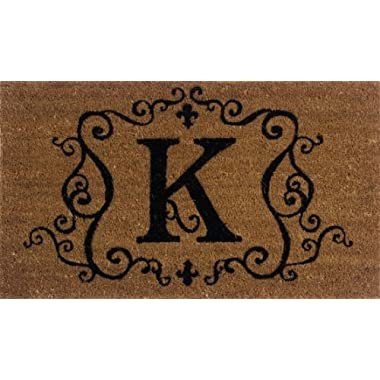 Evergreen 2RM011 Monogram Door Mat, Coir Insert, Letter K, 16-Inches x 28-Inches