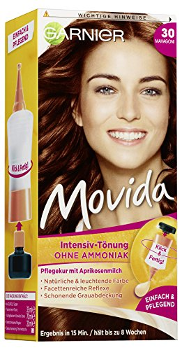 Garnier Tönung Movida Pflege-Creme / Intensiv-Tönung Haarfarbe 30 Mahagoni (für leuchtende Farben, auch für graues Haar, ohne Ammoniak) 3er Pack Haarcoloration-Set
