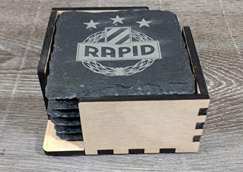 SK Rapid Wien, Glasuntersetzer, Set-Angebot, 6 Stk. inklusive Halterung, offizieller Fan-Artikel