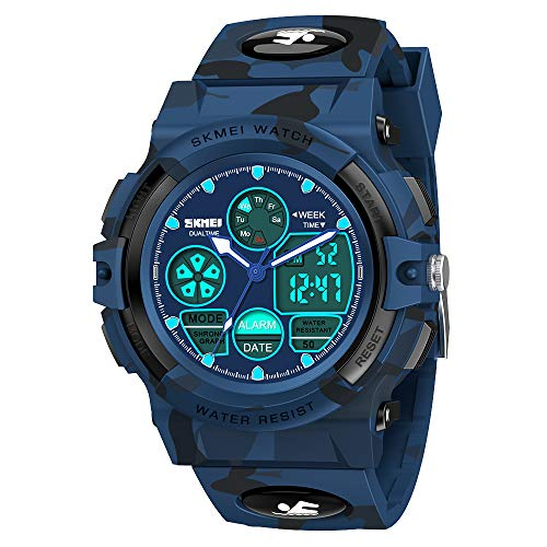 Dreamingbox Kids Watches Boys Waterproof, Outdoor Sports 50M Waterproof Electronic Watches for Kids Birthday Presents Gifts for 5-12 Year Old Boys Toys Age 6-10 DB Camouflage MMUSPW05