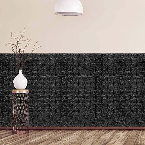 Relaxdays Wandpaneele selbstklebend, 10er Set, dekorative Steinoptik, 3D Paneele, weicher Schaumstoff, 78x70cm, schwarz