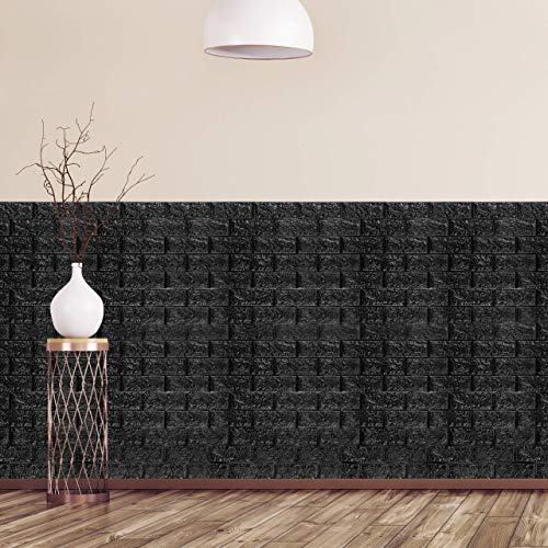 relaxdays Paneles Pared Autoadhesivos, Pack 10 Unidades, Imitación Ladrillo 3D, Espuma de Polietileno, 78x70cm, Negro, 78x70 cm