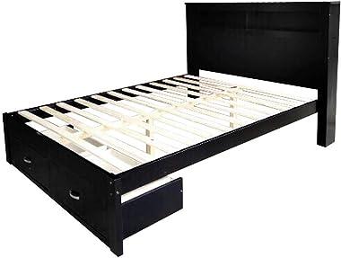 Solid Pine Timber Bed Frame Storage Shelves & Drawers - King Black