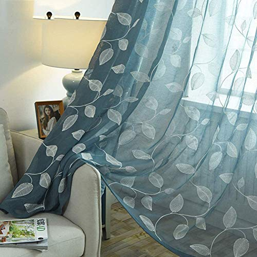 2 delen Curtain Blue Leaves geborduurde bloemen schermen Veil Tulle Rideau Living Room Window Treatment Panel Uniek,250X270cm