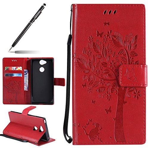 Uposao Kompatibel mit Handyhülle Sony Xperia XA2 Handytasche Bookstyle Klappbar Flip Hülle Cover Tasche Schmetterling Baum Blumen Katze Leder Brieftasche Schutzhülle Lederhülle Ledertasche,Rot