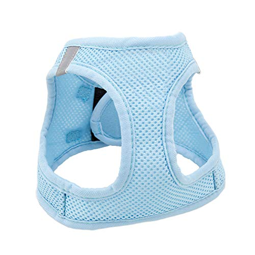 Dog Harness,Kitten and Puppy Universal Harness with Leash Set, Adjustable Reflective Soft Mesh Corduroy Small Dog Harnesses Outdoor Vest for Dogs No-Choke Easy Control(Blue,XS)
