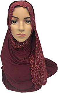 Muslim Head Wrap Scarf Floral Lace Glitter Rhinestone Hijab Islamic Ramadan Headwear Middle East Clothing Accessories
