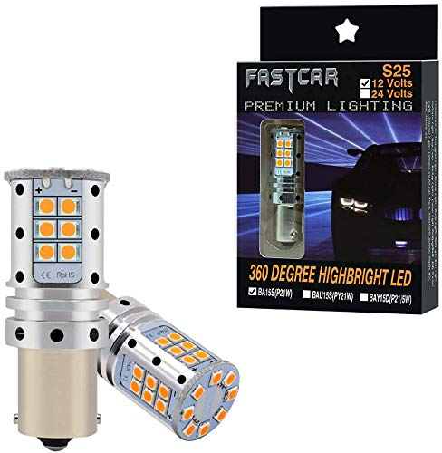 S25 1156 ba15s P21W LED CANBUS naranja 12V bombillas indicadoras de dirección para automóviles (ámbar 180 °)