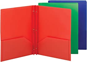 Smead Poly Two-Pocket Folder, Three-Hole Punch Prong Fasteners, Letter Size, Assorted Colors, 3 per Pack (87737)