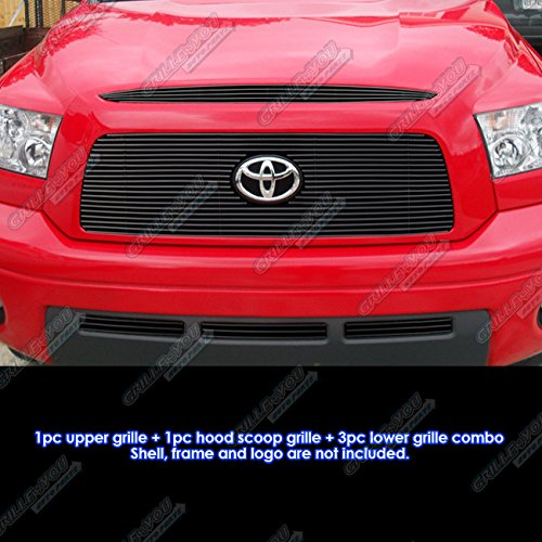 APS Compatible with 2007-2009 Tundra Logo Show W Hood Scoop Black Billet Grille Combo