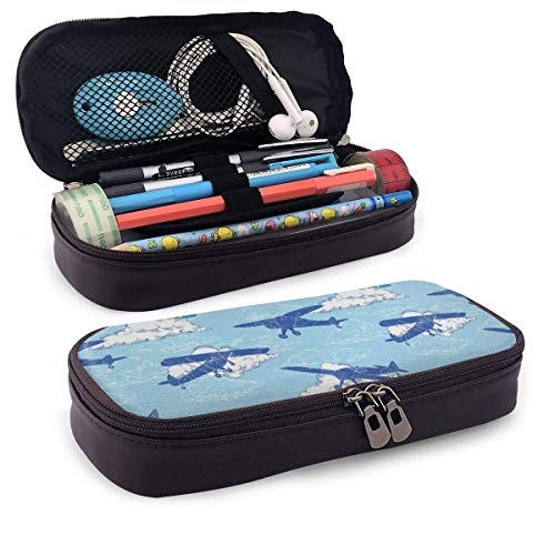 Aircraft Silhouettes Flying Leather 3D Nano Printed Pencil Case Pouch Zippered Cute Pen Pencil Case Box School Supply for Students,Big Capacity Stationery Box for Girls Boys and Adults