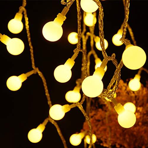 RUNACC Kugel LED Lichterkette 6M Warmweiße USB Globe Lichterkette 60LED 6M Innen und Außen Lichterkette IP44 Wasserdicht mit IR Fernbedienung für Weihnachten, Party, Garten, Hochzeit, Balkon