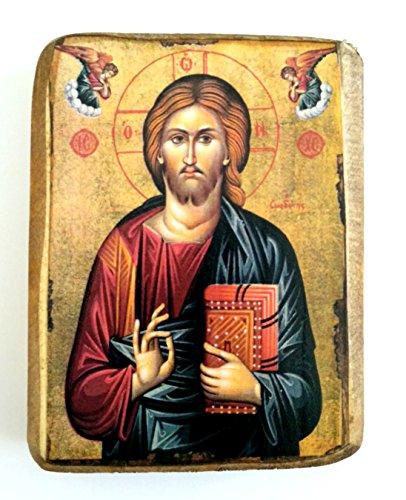 Griechisch-christliche-orthodoxe Holzikone von Jesus Christus / A0