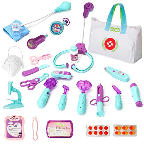 sdaymol Toys Doctor Kit for Kids - 26PCS Kids Pretend Play Doctor Toys with Storage Bag and Stethoscope for Kids,Medical Kit Gifts Boy & Girl Learning Educational Toddler Games Role Play