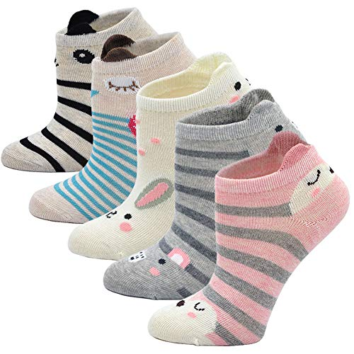 Kids Socks Cotton Animal Cute Funny Baby Toddler Ankle Sock for Boys and Girls 5 pair (Animal Ear Socks 5 Pairs, S: 2-4 Years)