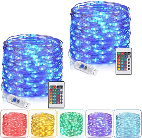 2 Pack Fairy Lights 10M/33 Ft 100 LEDs, Tesyker Lights for Bedroom with Remote Plug in Led String Lights, 16 Color Changing Lights USB Fairy Lights for Patio Indoor Party Costume Multicolor Lights