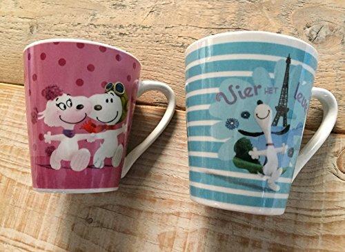 PARIS STOCK Snoopy Love & Paris - Coffret de 2 Mugs BOITE CADEAUX