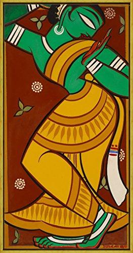 Berkin Arts Framed Jamini Roy Giclee Canvas Print Paintings Poster Reproduction(Painting of Dancing Gopi)