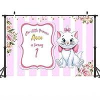 漫画の背景漫画の美しい猫マリーパーティー用品ポートレート写真の背景新生児の誕生日パーティーの背景写真スタジオ小道具ピンクホワイトストライプ花ビデオ背景壁