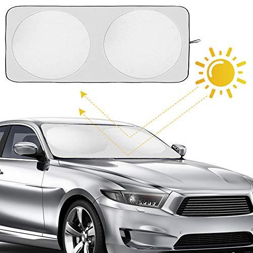 JRing Protector de Parabrisas para, Calor Excelente de UV y Reflector del Sol, Tamaño Flexible para SUV, Carro, Coche Apto del Parabrisas Grande o Pequeño (150x70 CM)