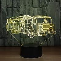 3D消防車モデリングテーブルランプ16色変更消防車車の夜の光USB睡眠照明器具寝室の装飾子供のギフト