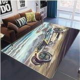 Grande Tapis 3D Tapis Antidérapant épais de Surface de la Chambre à Coucher A350 voiture Noël Cadeau d'Halloween Coloré Très...